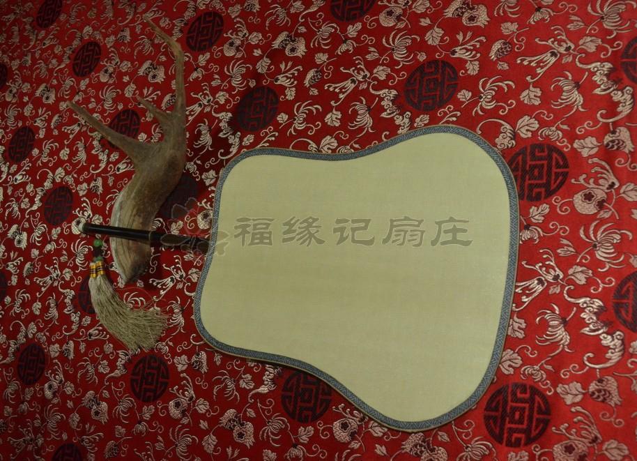 商品名称:精品宫扇 紫竹 真丝 双面 圆柄 团扇 宫扇(芭蕉型)